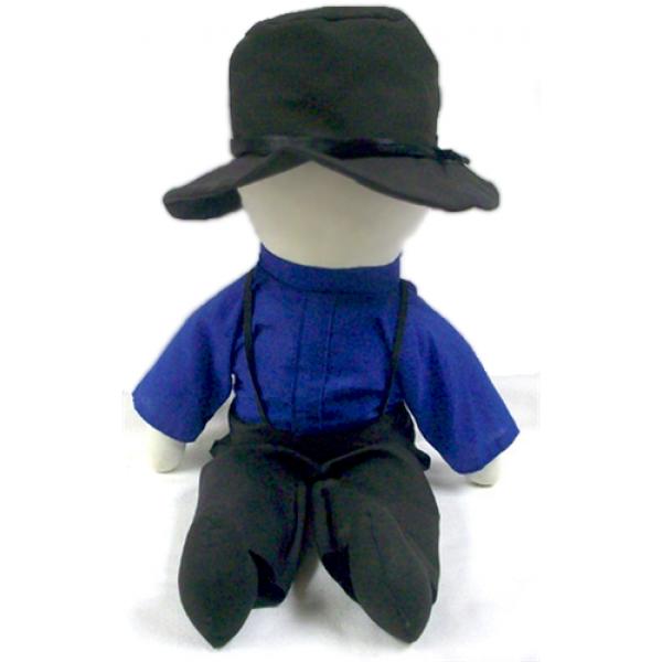 """amos doll, amish doll, 18"""" blue"""