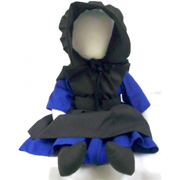 """becky doll, amish doll, 18"""", blue"""