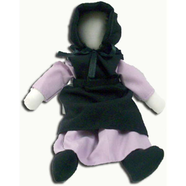 becky doll, amish doll, lavender
