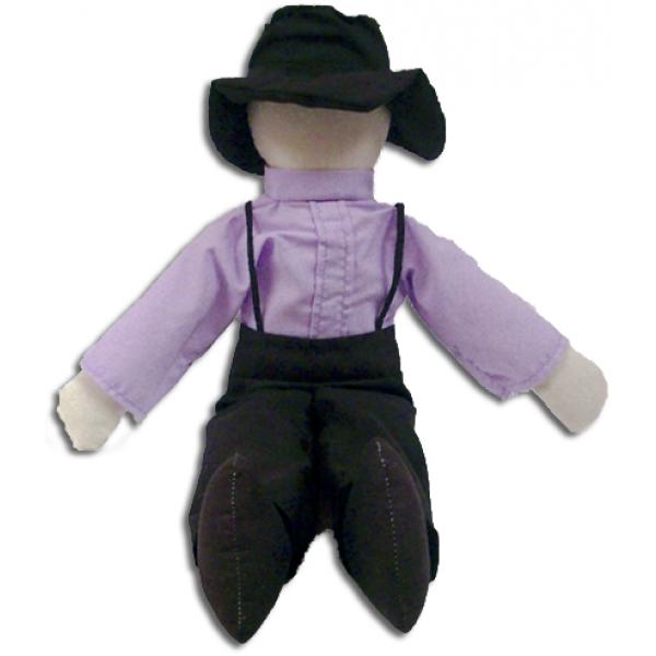 """amos doll, amish doll, 14"""", lavender"""