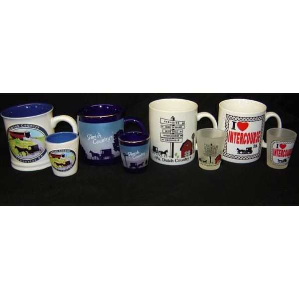 dutch haven, ceramic mugs, shot glasses, set
