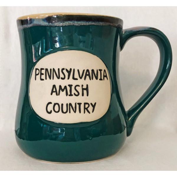 pa, amish country, green, stoneware, ceramic mug, front