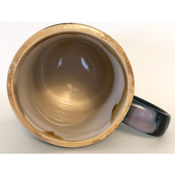 pa, amish country, green, stoneware, ceramic mug, inside