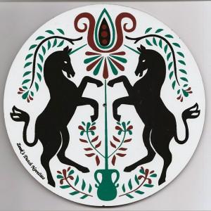 amish, hex sign, unicorns, green