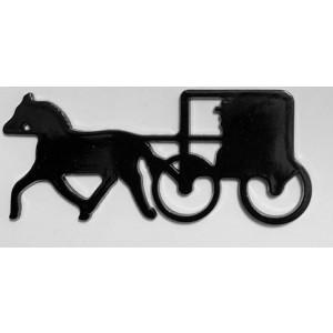 amish, horse & buggy, black silhouette, die-cut, metal magnet
