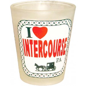 i love intercourse, pa, frosted, shot glass