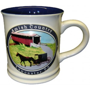 lancaster, embossed mug, amish country