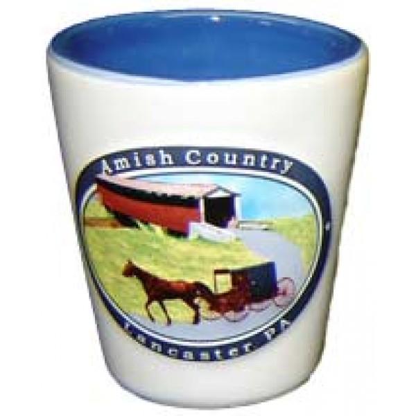 amish country, lancaster, pa, embossed shotglass