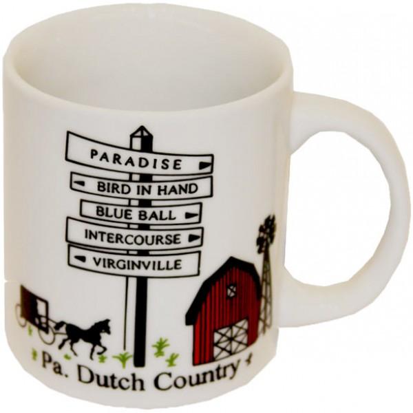 pa, dutch country, roadsign, mug