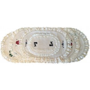 stenciled lace doily, oval