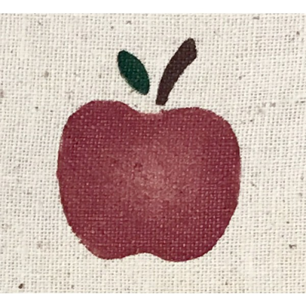 stenciled lace doily, oval, apple