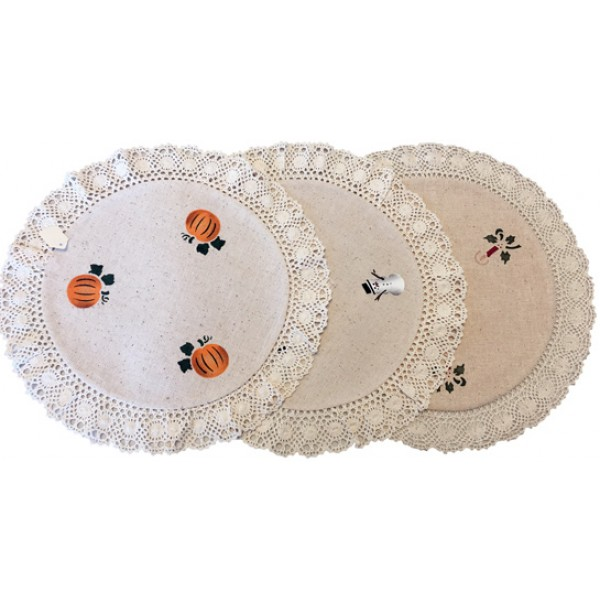 stenciled lace doily, round