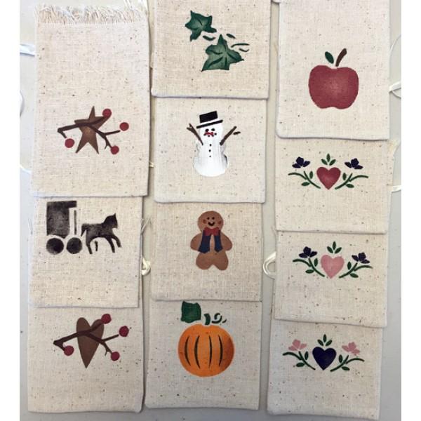 stenciled satchet bag, designs
